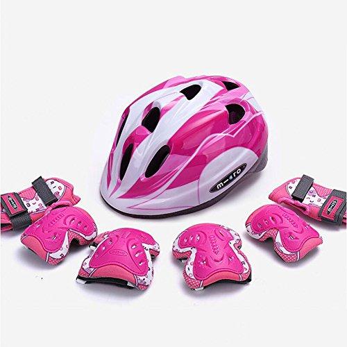 WX xin Kind Helm Schutzausrüstung Set Fahrrad Skateboard Schlittschuhe Knieschoner Schutzhelm (Farbe : Pink, größe : M)