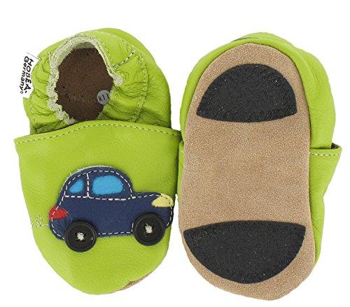 HOBEA-Germany Lauflernschuhe Auto mit Ampel - Pantuflas para bebés, Color Verde (grün), Talla 20/21 (12-18 Mon.)