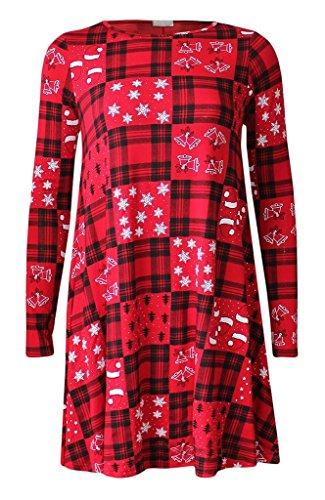 BuyAll Femmes Christmas Tree Sonwman Père Tartan Reindeer à manches longues col rond Balançoire Flared Skater Dress Top Shirt Taille XL XXL XXXL 36-54 Année 5-13 Red Check