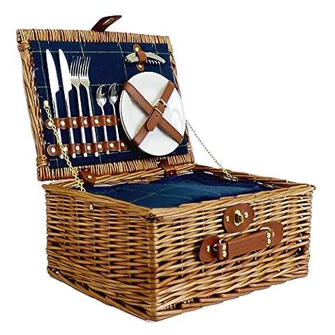 Luxus Picknickkorb für 2Personen blau tweed-style–Geschenk Ideen für Geburtstage, Jubiläen & Congratulations Presents