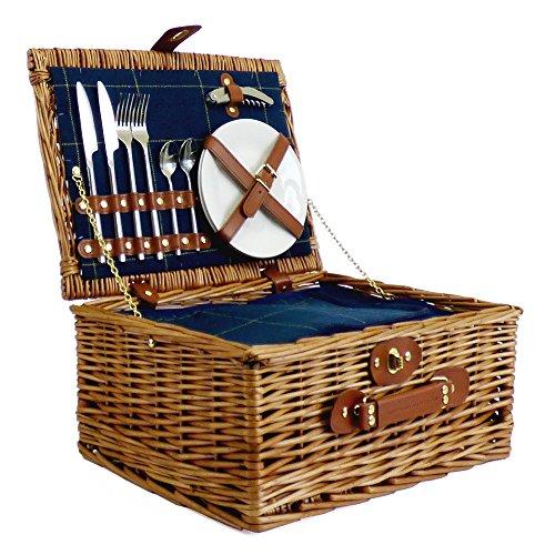 DE LUJO 2 Persona Azul tweed-style mimbre picnic Cesto