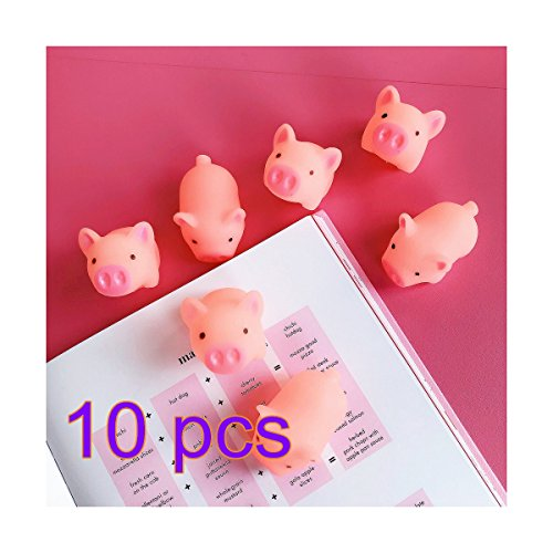 chweinchen Spielzeug 10 Stück Mini Gummi Schwein Spielzeug schreit Schwein Stress Relief Spielzeug TPR-Quetsch-Telefon-Gurte DIY Deko-Zubehör, lustiges Kinder-Geschenk Dekoration ()