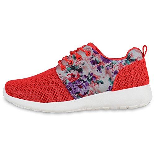Damen Sportschuhe Übergrößen Trendfarben Runners Sneakers Laufschuhe Fitness Prints Flandell Neonrot Muster