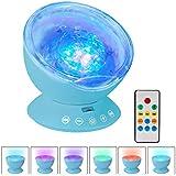 LOBKIN Proyector LED de Olas del Mar con control remoto 12 LED y 7 colores de lámpara de noche con mini reproductor de música incorporado para la sala de estar y el dormitorio (azul)