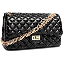 HandbagCrave® Envy Cadena de oro acolchada / Plata Hardware de cadena Bolsos bandolera Bolso de embrague (Negro - Oro)