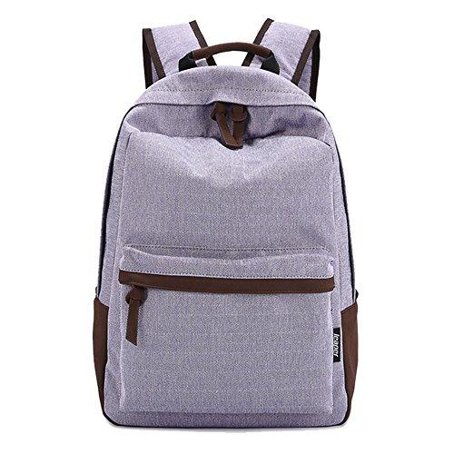 Ambielly scuola borse libro borse zaino per le ragazze / ragazzi Zaino Zaini tela di canapa per Scuola / assemblaggio / Outdoor (Viola chiaro)