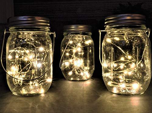 gadgy ® lanterna solare barattolo di vetro set luci fatate | 3 pz usb ricaricabile | con cavo usb | 20 led's luce calda bianca | lanterne illuminazione | esterno interno giardino