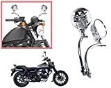 #9: Autopearl Auto Pearl Premium Quality Full Chrome Skull Face Motorcycle & Scooty Rearview Mirrors Set of 2 pcs. For - Bajaj Avenger Street 150