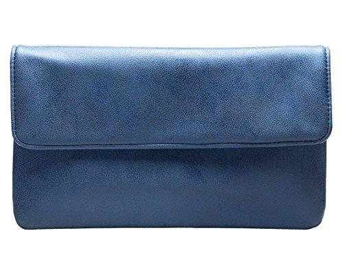 cecilia&bens Damen Jeans Clutch Blau | kleine Handtasche für Abendkleid oder Cocktailkleid