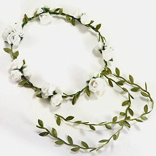 Xiaokesong® Garland Blumen Stirnband Blumenkopfschmuck kleine Blumen Band für Hochzeit und Alltag (Weiß)