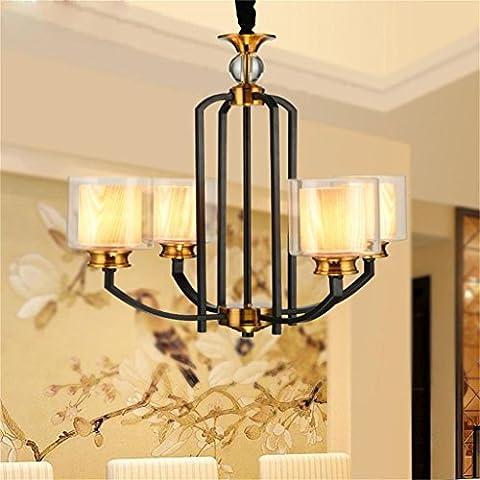 Bon lustre Lustre Feuilles de salon Feux de fer Feux de restaurant Modern Simple industriel Rétro Bar Lampes à lampe en verre