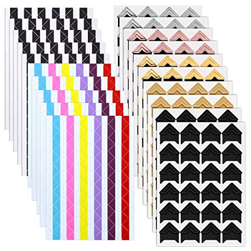 NATUCE 1260pcs Fotoecken Selbstklebend,Bunt Aufkleber für Foto Ecken, DIY Scrapbooking, Tagebuch oder Fotoalbum