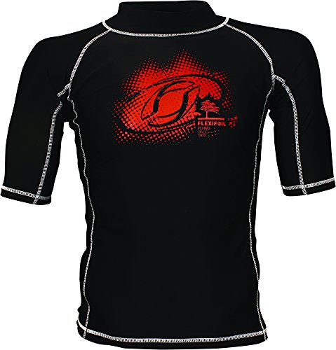 Male Adult Short Sleeve Thermal Lycra Black Rash Vest, Ideal for Swimming, Diving, Kitesurfing and Surfing