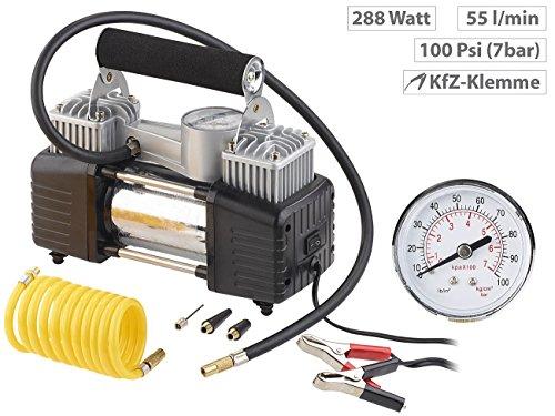 Lescars Auto Luftpumpe: Mobiler Luft-Kompressor, Manometer, 12 V, 100 psi, 288 Watt, 3 Adapter (12 V Kfz Druckluft Kompressoren) - 2