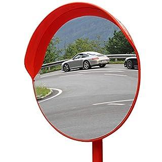 Topwill 30cm Verkehrsspiegel Konvex Spiegel Sicherheitsspiegel Überwachungsspiegel Polycarbonat Konvexspiegel für Verkehrssicherheit (Orange)