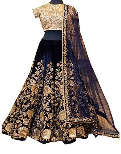 Priyanka Trends Velvet Lehenga Choli (PRTSA308_Blue_Free Size)