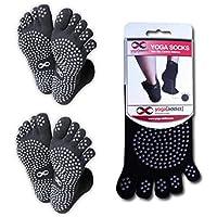 YogaAddict Yoga Full Toe Socks, 1 & 2 Pairs Value Pack Set, Pilates, Dance, Barre, Anti Slip Non Skid Grip Socks, For Women & Men, Choose Your Colour
