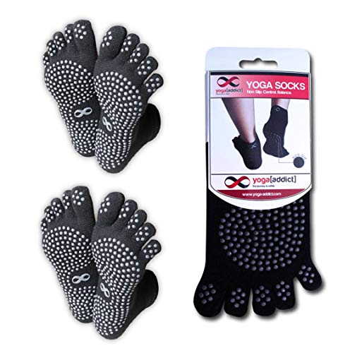 YogaAddict Yoga Full Fuß Socken, 2Paar Value Pack-Set, Pilates, Dance, Barre, Rutschfeste Rutschfeste Grip Socken, für Frauen & Männer, wählen Sie Ihre Farbe, Full Black - 2 Pairs, L-XL -