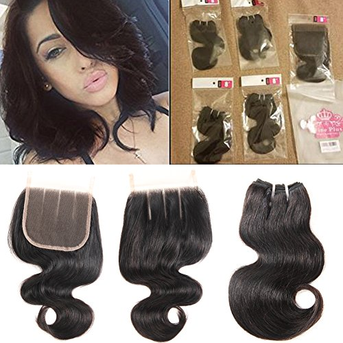 10A Brazilian Virgin Hair Body Wave 3 Bundles with Closure 3 Part Human Hair Bundles with Closure 8 Inch Human Hair Extensions Natural Color 50g/pcs 8 8 8 with 8 Three Part Lace Closure