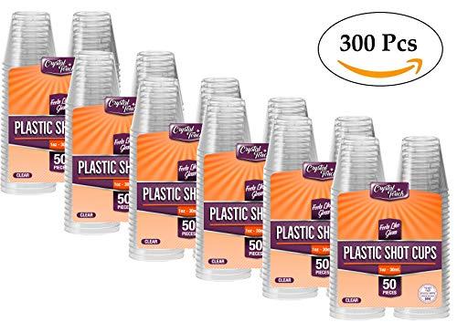 Verres jetables en plastique transparents robustes et réutilisables 30 ml, plastique, 300