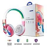 Onanoff kabellose Bluetooth-Kopfhörer für Kinder, Modell Wave (Limited to 75, 85 oder 94 dB, faltbar & wasserfest, 24 Stunden Akkulaufzeit, optionales Kabel für die Audio-Sharing, Pink