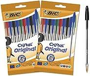 BIC Cristal Original Stylos-Bille Pointe Moyenne (1,0 mm) - Couleurs Assorties, Lot de 2 Pochettes de 10