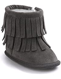 Butterme Zapatillas de Deporte de Bebé Felpa Cálida Borla Zapatos Antideslizantes Prewalker Al Aire Libre de Nieve para 6-12 Meses(13cm,Gris oscuro)