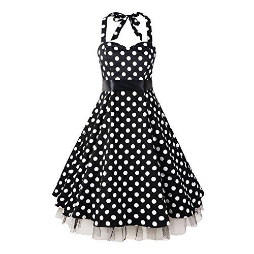 LUOUSE 'Rhya' Vintage Serenity Kleid im 50er-Jahre-Stil,BlackBlack,XL