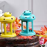 #8: Set Of 2 Sammsara Christmas Decorative Iron Lantern with Tealight Candle(Yellow,Blue).Lanterns Decoration Hanging christmas outdoor hanging lanterns