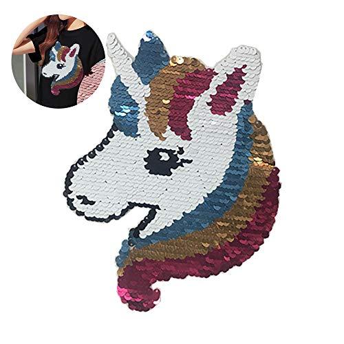 ouken 1PC Rosado Lindo del Unicornio Caballo Lentejuelas Patch Patch Brillante bordó el Hierro en Remiendo de los Pantalones Vaqueros de Bricolaje Ropa Bolsa