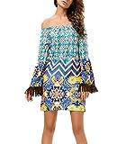 Strandkleid Damen Kurz Elegant Festliches Sommerkleider Langarm Schulterfrei Beachtime Drucken Mit Quaste Fashion Freizeit Ethno-Style Boho Kleid Minikleid