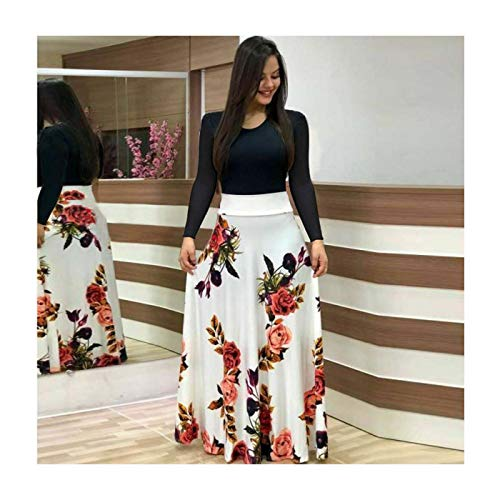 MOOPYS& New Women Floral Maxi Dress Prom Evening Party Summer Beach Casual Long Sundress Black+White Long XXL Womens New Black Bow Tie