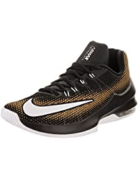 d274b99ab86e Nike Men s Air Max Infuriate Low Black White Metallic Gold Basketball Shoe  11 UK