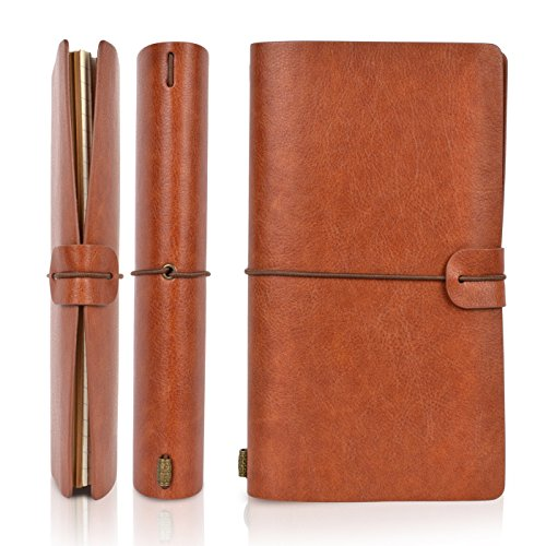 magichome Vintage Leder Journal Notizbuch, nachfüllbar mit Trennwand, Notizblock Tagebuch mit blanko Seite, perfekt für Geschenke, Reisen, Schreiben und Skizzieren (20cm * 12cm)
