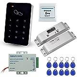 LIBO Kit Complet de Clavier de contrôle d'accès RFID 125KHz avec Serrure électronique de verrou électrique de DC12V, Alimentation 3A, Bouton de Sortie, Cartes-clés ID 10pcs