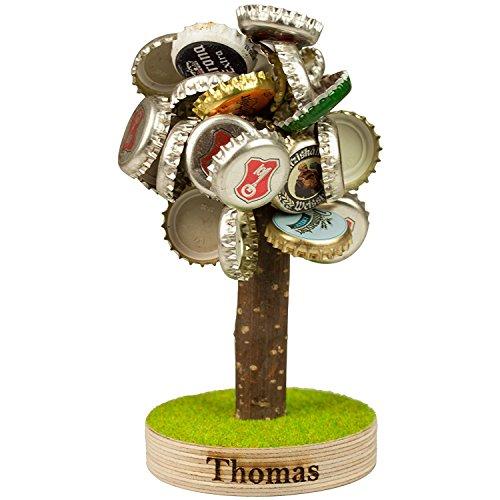 Bierbaum mit Magneten und Gravur für Kronkorken - lustige Geschenke für Männer, Papa und Freund - Weihnachtsgeschenke für Väter