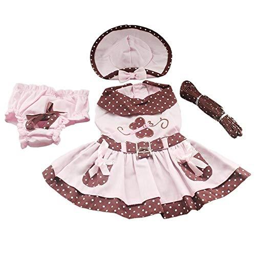 7°MR Speichern Sie Schmetterling Muster Hund Kleider Hunde Prinzessin Kleid Haustier Puppy Supplies (Kleid + Hut + Höschen + Leine = 1 Satz (Color : As shown, Size : XL)