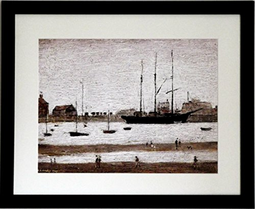THE COLLECTION OF L S Lowry Speciality Prints and Pictures – All on a Linen Structure Medium (20 x 16inch, Black Frame With Soft White Mount And Large – RHYL HARBOUR – Image)