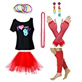 Fun Daisy Clothing Damen I Love The 80er Jahre T-Shirt 80er Jahre Outfit Zubehör, Rot - UK 14-16 / M-L