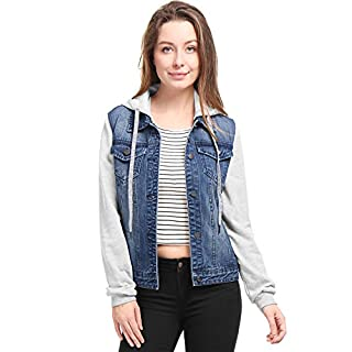 Allegra K Women's Layered Hooded Denim Jacket w Pockets L Dark Blue