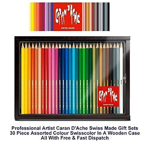 Caran D'Ache Swisscolour Water Soluble Pencils 30 Wooden Box