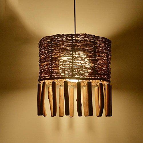 BBSLT Creative Cafe sala da tè lampadari lampada rattan agriturismo ristorante ristorante rattan tessuto Buddha Zen, pendente 350*380mm