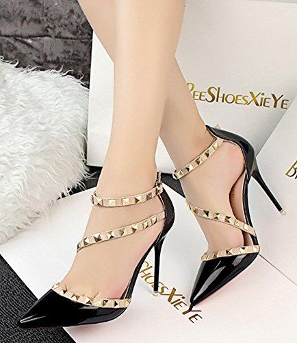 Minetom Fête Été Talons Hauts Femme Escarpins Pointed Toe Casual Filles Boucle Chaussures Rivet Rotation Stiletto Pumps High Heels Noir