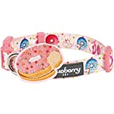 Blueberry Pet Party Ideas Sweet Tooth Donut Designer Dog Collar in Baby Pink with Decoration, Medium, Neck 37cm-50cm, Adjustable Collars for Dogs