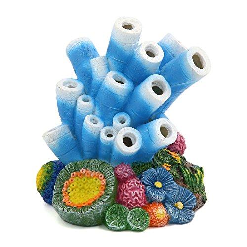 sourcingmap® Aquarium Dekoration Bubble Maker blau Korallen Seesterne Ornament 13x13x16cm