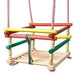 Iso Trade Baby Holzschaukel Bunte Farben 26x26cm Bis 25kg Stabil Schön Langlebig Natürlich #6248