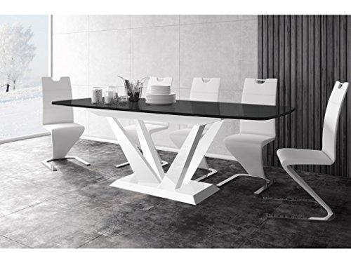 H MEUBLE Table A Manger Design Extensible 160÷260 CM X P : 89 CM X H: 75 CM - Noir
