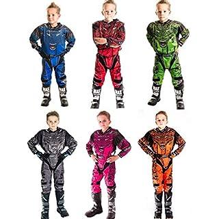 Motorradanzüge WULFSPORT AZTEC Kinder Motorradkombi Motocross-Rennkleidung Hose Jersey Anzug für MX Gokart Quad Scooter Sportkleidung, Zweiteilige Kombinationen (Rosa, 8 bis 10 Jahre)