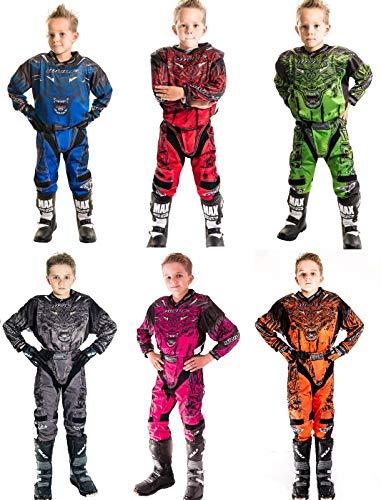 Wulfsport Firestorm Kinder Anzug Motorrad Motocross ATV Quad MX Racing Sport Junior Bekleidung Bike Anzug für Kinder (3-13 Jahre, 20-30, Mehrere Farben) - Blau - 8-10 Jahre, 24-Taille -