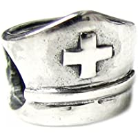 Queenberry - Charm Bead a forma di cappello croce rossa, argento sterling, ideale per Pandora (Croce Cap Hat)